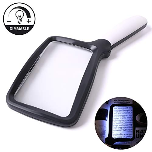 (Large Hand Magnifying Glass Handheld Folding Reading Magnifier 3X Magnification with 5 Dimmable LEDs Ideal for Reading Small Prints, Book, Low Vision, Read Easily at Night)