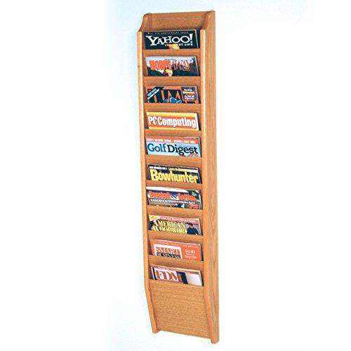(Wooden Mallet 10-Pocket Cascade Magazine Rack, Light Oak)