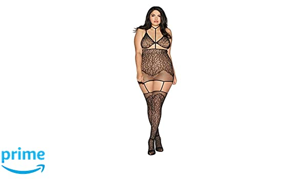 89fbfe4615 Amazon.com  Plus Size Collared Lace Garter Dress Lingerie with Detachable  Bra  Clothing