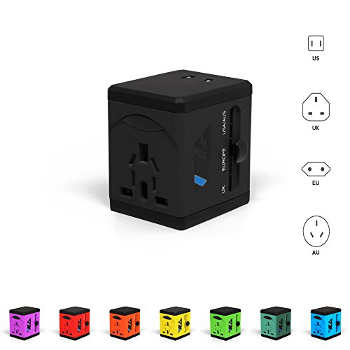#1 Rated Travel Adapter and Charger - USB Charging Ports - Super Fast Charging - All International Standard Cell Phone/Desktop/Laptop/Touch Screen Tablet/Computer/GPS Chargers - Cosmos Black by VLG Products (Image #7)