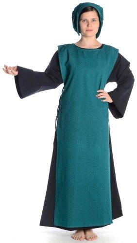 Grün S Schwarz mit Damenkleid mit Mittelalter Leinenstruktur Kleid HEMAD Damen Baumwolle Skapulier XL schwarz qOYBw6