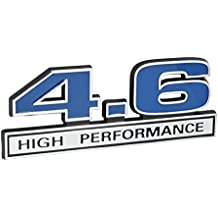 "4.6 Liter High Performance Engine Emblem in Chrome & Blue - 5"" Long"