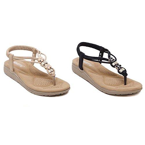 Sandals XIAOLIN Heel Height 3cm Lady Summer Flower Rhinestone Ethnic Clip Toe Beach Slippers Flat T-Strap Belt (Optional Size) (Color : Beige, Size : EU39/UK6.0/CN39) Beige