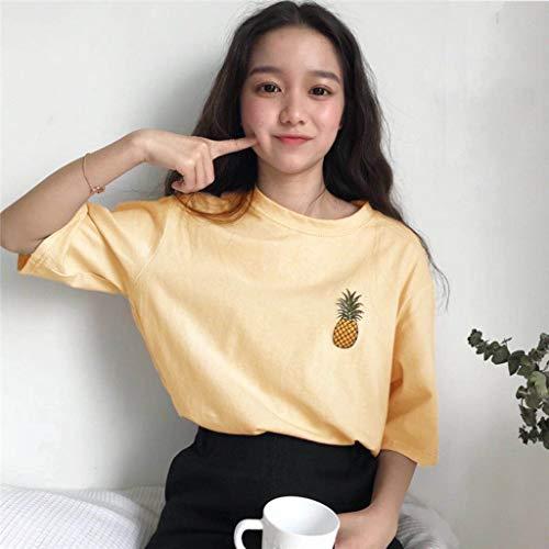 Risaho Damen T-Shirt Sommer Kurzarm Rundhals Casual Tops Lockere Baumwoll Oberteile Basic Tops Shirt Teenager Mädchen Frauen Hemd Bluse Tunika