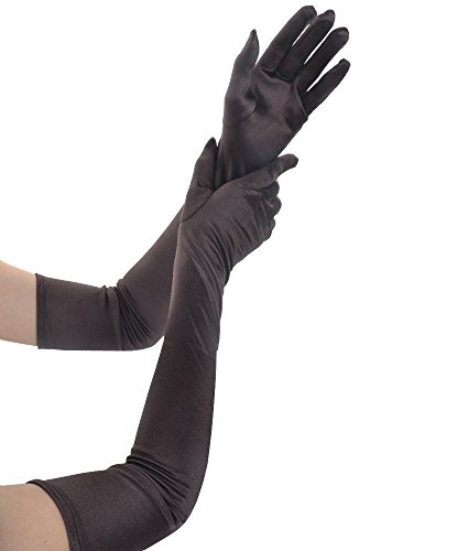 (JISEN Women 20s Formal Bridal Satin Banquet Party Wedding Opera Colorful Gloves 22 Inch Coffee)