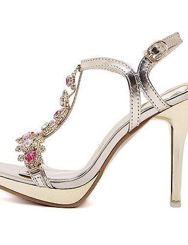 ShangYi Womens Shoes Leatherette Stiletto Heel Open Toe Sandals Party & Evening / Dress Gold golden