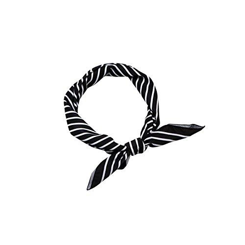 FLYRCX Retro stripe chiffon foulard petite place dame douce écharpe de décoration