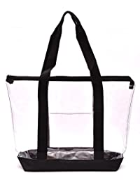 Clear Tote Bag - Top Zipper Closure, Long Shoulder Strap and Attractive Fabric Trimming. Perfect Transparent Travel Tote for All Places and Events Where Clear Bags are Required. (Black)