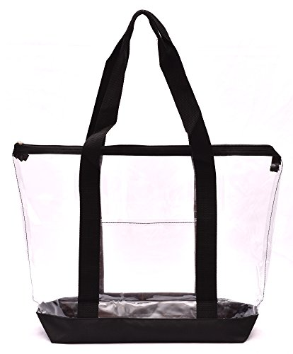 (Clear Tote Bag - Top Zipper Closure, Long Shoulder Strap and Attractive Fabric Trimming. Perfect Transparent Travel Tote for all Places and Events where Clear Bags are Required. (Black))