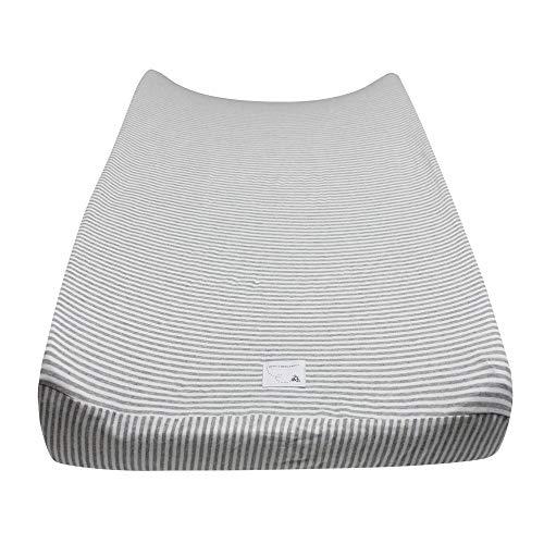 Burt's Bees Baby – Changing Pad Cover, 100% Organic Cotton Changing Pad Liner for Standard 16″ x 32″ Baby Changing Mats (Heather Grey Thin Stripes)