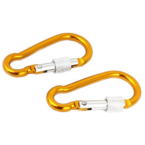 SODIAL Aluminum Travel Adjusting Screw Carabiner Clip Hook 5cm Long 2-PIECE Gold-colored by SODIAL (Image #1)