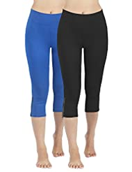 4How 2Pack Women's Cotton Casual Pants Yoga Capri Workout Tights