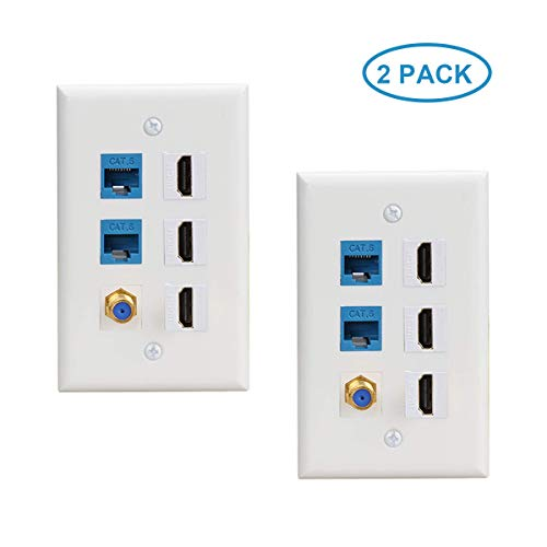 3 HDMI Keystone Wall Plate 2Pack,2 -Cat6 Ethernet 1 - Coax Cable TV F Type Port HDMI 2.0 Decorative Female to Female Compatible with Cat6/Cat5/Cat5e