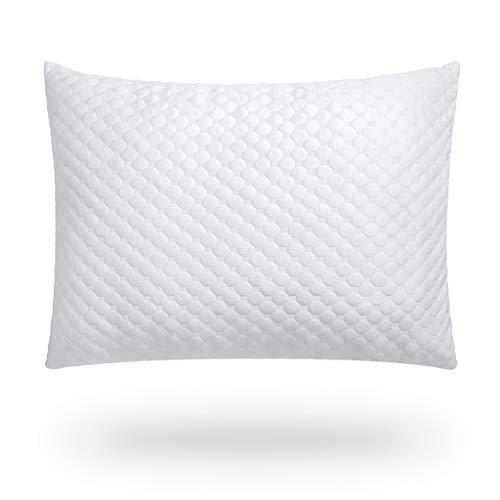 Awenia Shredded Memory Foam Pillow, Pillows for Sleeping Adjustable Loft Hypoallergenic with Infused Cooling Gel, Removable Washable Bamboo Cover, Neck Pain Relief for Side Back Stomach Sleeper, Queen