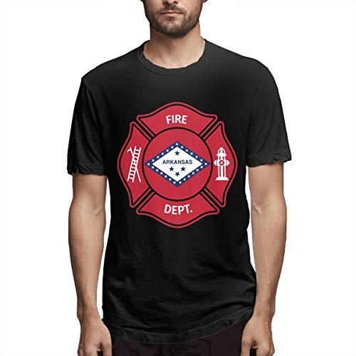 Men's State Arkansas AR Firefighter Dept Short Sleeve Crew Neck Cotton Casual Graphic T-Shirt Tee Black