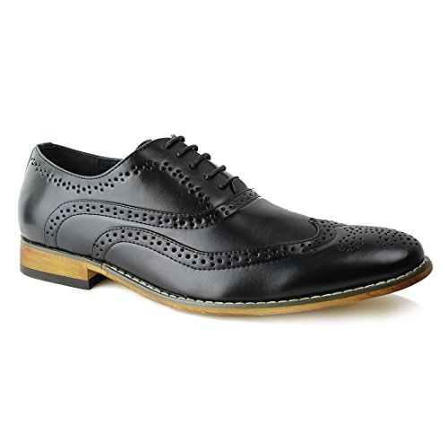 BESTON Mens Leather Lining Wing Tip Brogue Classic Oxford Casual Dress Shoes