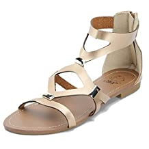Alexis Leroy Embellished Metallic Gladiator Women Flat Sandals
