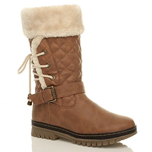 LOW LADIES GIRLS FLAT WINTER CALF LINED Brown LACE SIZE SNOW WOMENS FUR HEEL BOOTS CtdqxtUw