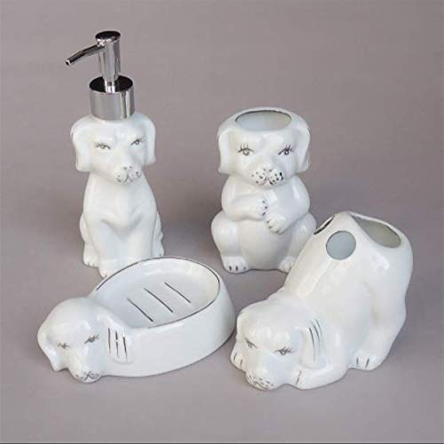 BrnAcS Bathroom Accessories Set Four Sets of Ceramic Bathroom Bathroom Products Toothbrush Cups Soap Dispensers Toothbrush Holders Soap Dishes (Dogs) (Elephant Soap Dish)