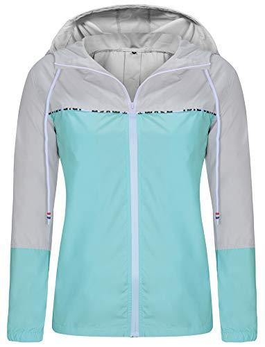 ZEGOLO Women's Raincoats Waterproof Packable Colorblock Windbreaker Lightweight Active Outdoor Hooded Rain Jacket S-XXL