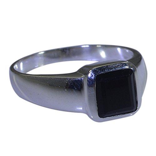 k Onyx Ring Sterling Silver Rectangle Shape Chakra Healing US 4,5,6,7,8,9,10,11,12 ()