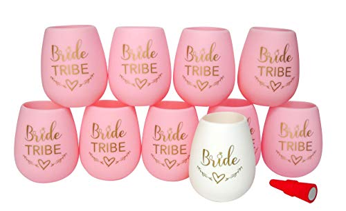 (Bride Tribe Bachelorette Party Silicone Wine Cups | Set of 10 cups 9 Pink and 1 White for Bride Includes Wine Cork | Great for Bridesmaid Proposal Box Gift, Bridal Shower, Decorations and Wedding)