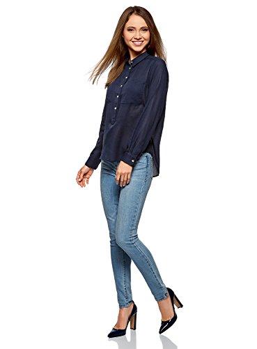 Ultra oodji Donna 7900n Blu Cotone Larga in Camicia dHgw4H