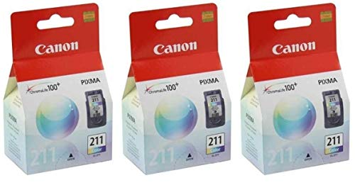 - 3 X Canon CL-211, 2976B001 (CL211CLR) Color OEM Genuine Inkjet/Ink Cartridge - Retail