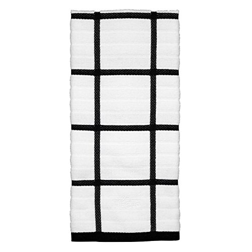 All-Clad Textiles 100-Percent Combed Terry Loop Cotton Kitchen Towel, Oversized, Highly Absorbent and Anti-Microbial, 17-inch by 30-inch, Checked, Black