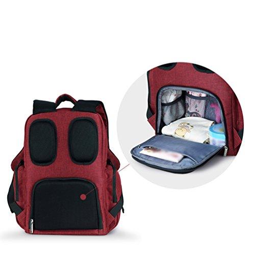 Anguang Mochilas para Pañales de Viaje Bolsa de Hombro Grande Bolso para la Madre y el Cuidado del Bebé Rojo 2