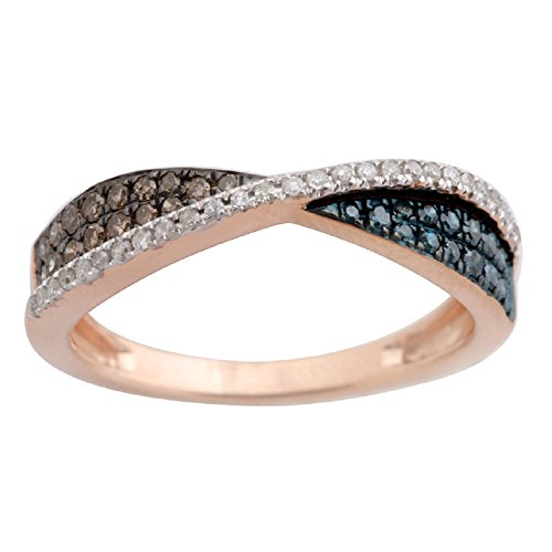 0.34Ct Brown, White & Blue Color Diamond Anniversary Ring, 10k Rose Gold Size 9.5 by Prism Jewel