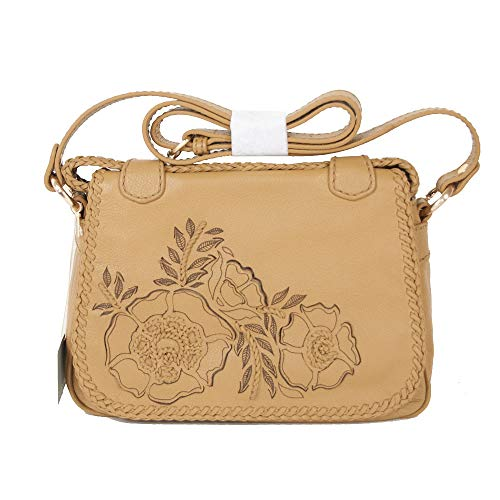 Isabella Fiore Tan Leather Floral Austin 2 Miley Saddle Bag Crossbody (Handbag Shop Isabellas)