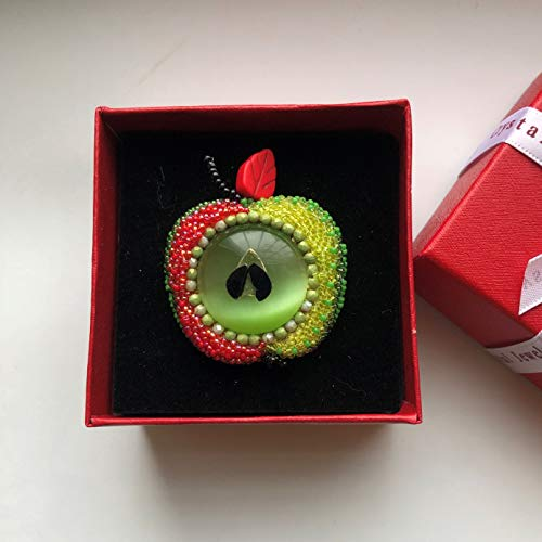 Green and Red Apple Beadwoven Embroidered Brooch