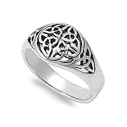 sterling silver six wiccan triquetra ring size 7 - Wiccan Wedding Rings
