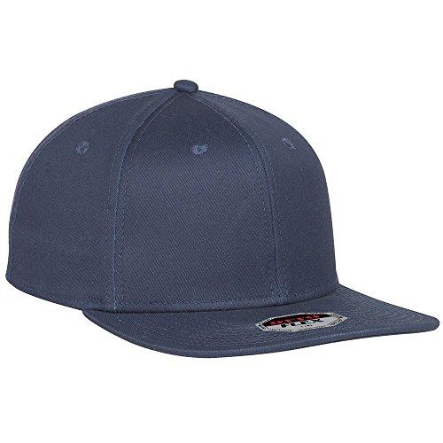 OTTO Flex Cotton Twill Square Flat Visor 6 Panel Pro Style Baseball Cap - Navy