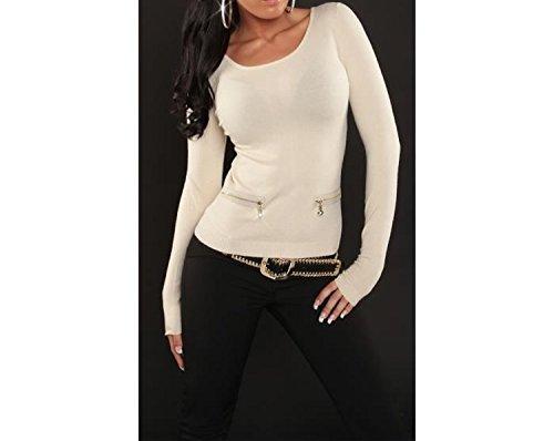 pull court beige femme nouvelle collection zip au dos