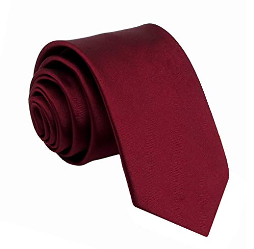 Kebs Basic Mens Solid Color Woven Polyester Necktie Narrow Neck Tie for Men - Burgundy ()