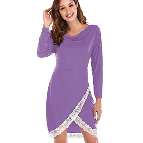 Lunga Maniche Collo Lunghe Vestitino Donna Autunno Con S Scollo Refurbishhouse Orlo Incrociato Colore V Inverno Manica A Nero Da Plus Light Purple Size shrtxQdBoC