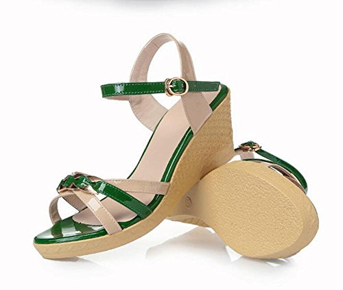 Slopes L Color Sandals Women'S Girls green And 39 High Summer YC Heels Leather Friendly Thick rptqr
