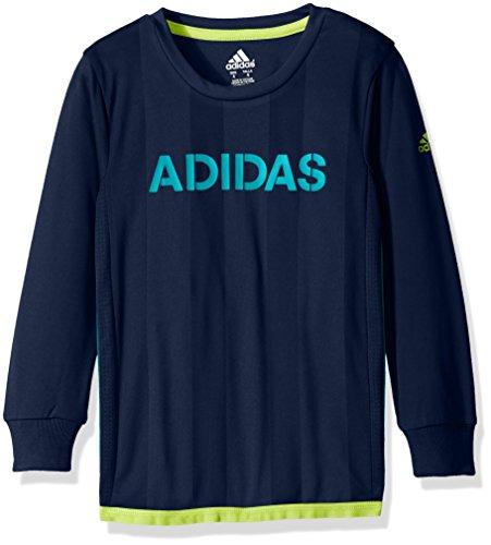 adidas Little Boys' Performance Logo Long Sleeve Tee Shirt, Dark Indigo, 5