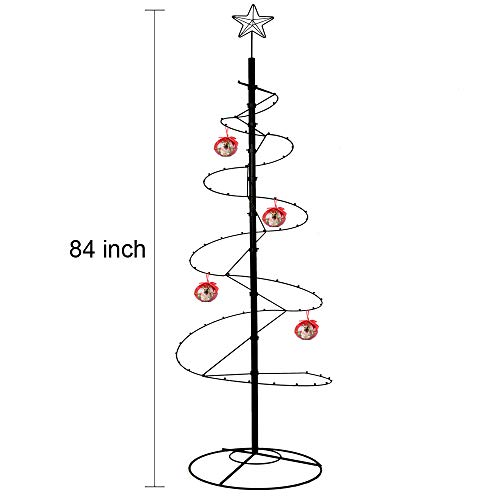 HOHIYA Christmas Tree Xmas Wrought Iron Display Stand Spiral Metal Ornament 7 to 8 Feet(Black)