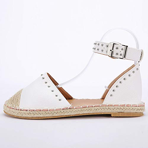 67fe34f06c69b JJLIKER Women Fashion Studs Flat Sandals Closed Toe Ankle Buckle Strap  Shoes Classic Comfort Espadrille Loafers White