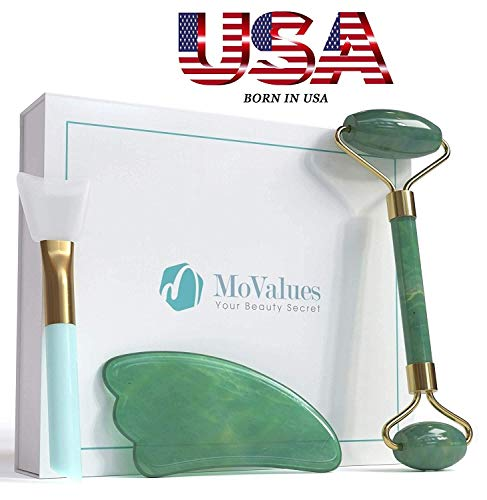 (Original Jade Roller and Gua Sha Tools Set- Jade Roller For Face- Real 100% Jade- Face Roller For Wrinkles, Anti Aging- Authentic, Durable, Natural, No Squeaks- Bonus Mask Brush)