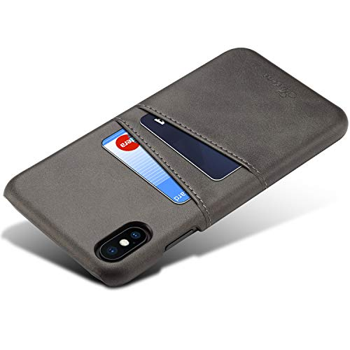Wallet Case for iPhone Xs, iPhone X Card Wallet Case, eVord Synthetic Leather Wallet Slim Back Card Slot Holder Case for iPhone Xs/X 5.8 inch (Black)