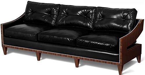 Amazon.com: Scarborough House 3Seater Black Leather Sofa ...