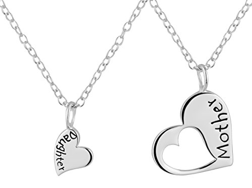 (Mother Daughter Necklaces for 2: .925 Sterling Silver Heart Charm & Heart Cut Out Necklaces)