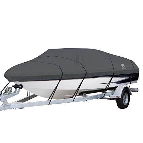 Classic Accessories StormPro Heavy Duty Boat Cover With Support Pole For V-Hull Runabouts, For 17' - 19' L Up to 102