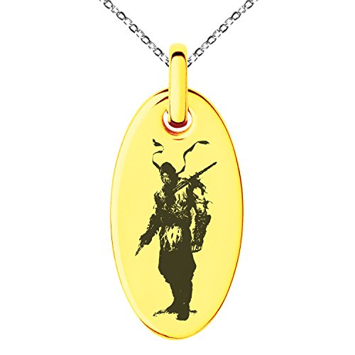 Tioneer Gold Plated Stainless Steel Mortal Kombat Scorpion Engraved Small Oval Charm Pendant Necklace -
