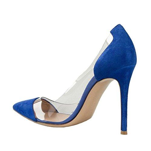 Party Shoes Size On Heels Clear Pumps Slip Wedding High 15 FSJ Blue US Dress Stiletto 4 Women Elegant 8wBxqOz7