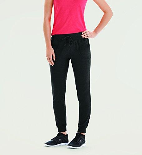 Champion Women's Jersey Pocket Pant, Black, Large - Embroidered Activewear Pant Set